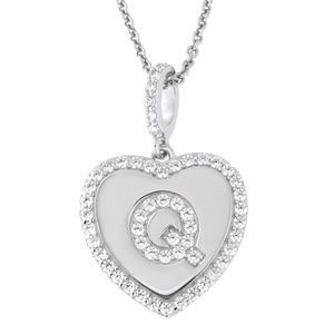 Letter Q Initial Heart CZ Pendant Sterling Silver